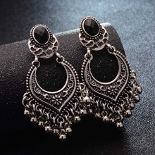Buy H:HYDE Bohemia Retro Style Black Crystal Earring Gold Color Carved Tassel Drop Earrings Women Vintage Bijoux Jewelry brincos for $1.06 in AliExpress store