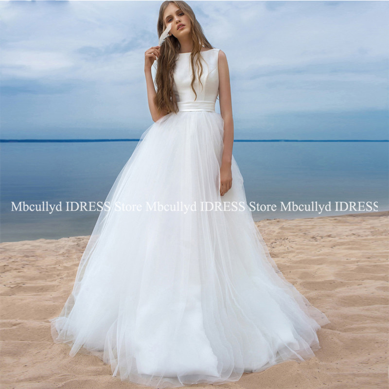 Soft Tulle Bohemian Wedding Dress Long 2019 Lovely Waist Bow Boho Bridal Gowns Chic Backless Formal robe de mariee For Women