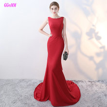 Real Photos Sexy Burgundy Mermaid Evening Dresses 2017 Scoop Elastic Satin Formal Dress Long Backless Lady Evening Party Gowns(China)