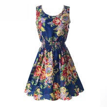 Summer Fashion Women Sexy Chiffon Sleeveless Sundress Beach Floral Tank Mini Dresses 7949