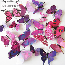 (1 set. = 12 pcs)Free shipping A beautiful art design 3d Butterfly Tatoos Wall Sticker Home Decoration Adesivo Parede(China)