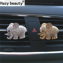 Hazy beauty High-grade diamond crystal elephant car perfume clip lady car styling air outlet accessories Air Freshener Styling(China)