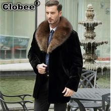 New Outerwear Men clothing 2017 Winter Warm Casual thicken Faux mink Fur Black leather jacket coats plus size men coats WR671