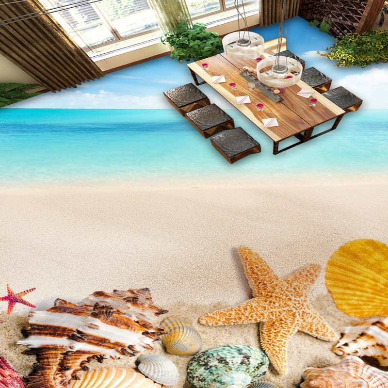 Free Shipping Beach shell 3D floor living room bathroom high-quality non-slip floor bedroom mural lifelike wallpaper<br>
