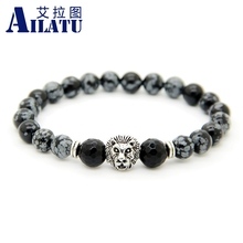Ailatu Wholesale 10pcs/lot 8mm Snowflake Obsidian Stone Beads Antique Silver Color Lion Head Energy Bracelet