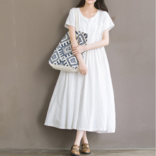White Short Sleeve Cotton Boho Long Dress 2017 Summer Euro Style Casual Loose Large Hem Beach Dinner Party Women Long Dresses