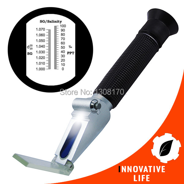 Handheld Salinity Refractometer with Built-in LED light Aquarium 0~10% ATC Clinic Laboratories<br>
