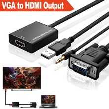NEW SVGA / VGA to HDMI CONVERTER With 3.5mm jack Audio Cable USB Powered 1080P Adaptor for TV HDTV AV Video PC Computer #5138