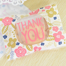 100pcs/lot Wedding Gift Soap Packaging Bags 10x13+3cm Thank You Style OPP Christmas Candy Cookie Baking Package Bag