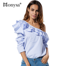 Off Shoulder Blouses Women Fashion Trends Clothing 2017 New Fashion Long Sleeve Shirt Women Striped Tops With Ruffles(China)