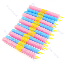 Set of 12pcs Soft Foam Anion Bendy Hair Rollers Curlers Cling