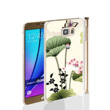 00072 lotus chinese style painting cell phone case cover for Samsung Galaxy Note 3,4,5,E5,E7 CORE Max G5108Q
