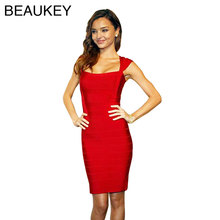 Cap Sleeve Rayon Spandex Stretch Square Collar Bodycon Sexy Women Dress Bandage Dresses Red Black Blue(China)