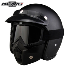 NENKI Motorcycle Helmets Open Face Vintage Style Motorbike Cruiser Touring Chopper Street Scooter Helmet whit Goggles Mask 610