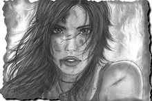 Lara Croft Tomb raider art drawing girl face eyes lips hair eyes cloth silk art wall poster and prints(China)