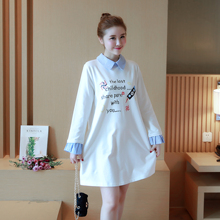Maternity clothing spring and autumn fashion clothes loose plus size print 100% cotton long-sleeve T-shirt maternity dresses(China)