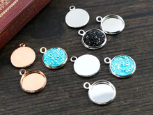 50pcs 12mm Inner Size Bright Silver And Rhodium Rose Gold Colors Plated High Quality Iron Material Cameo Setting Pendant Tray(China)