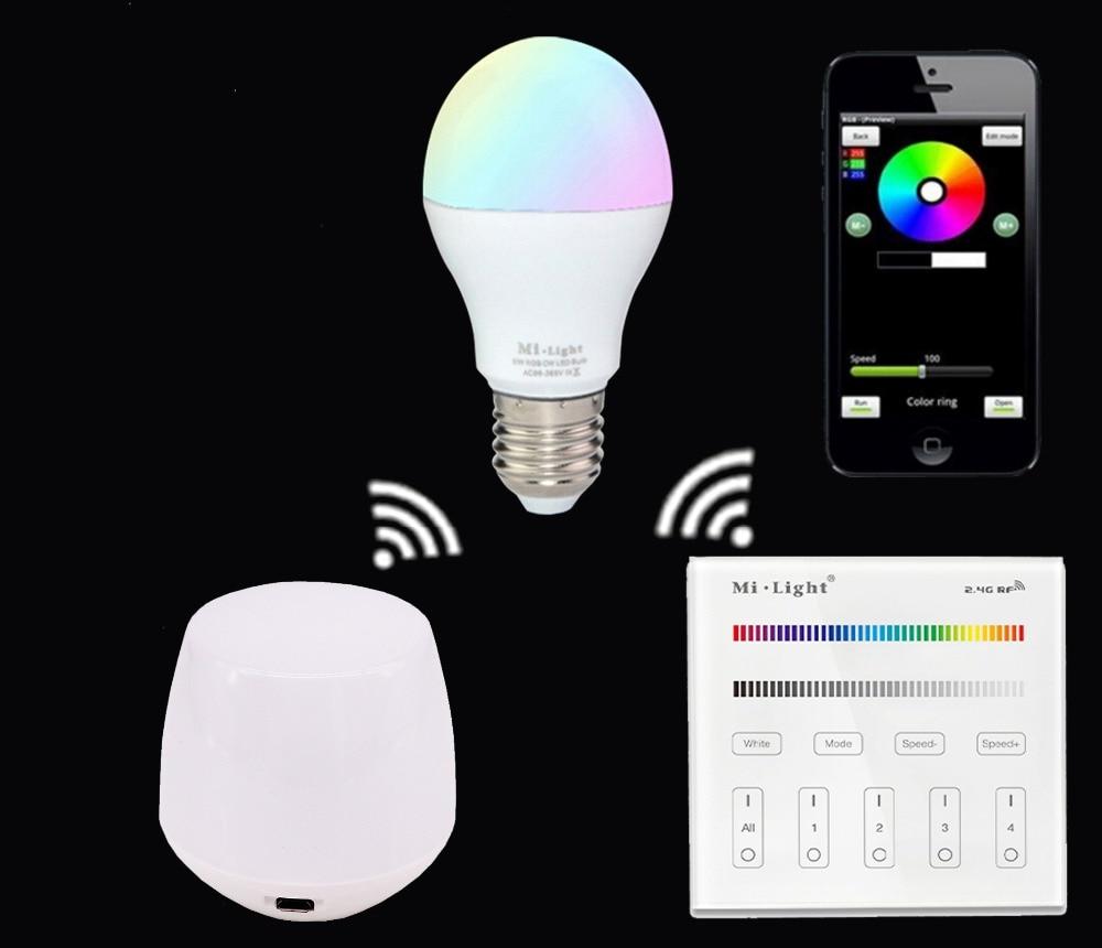 E27 6W RGBW RGBWW Led Bulb Lamp AC85-265V+Mi.light Wifi Ibox Led Controller+2.4G B3/T3 RGBW RGBWW Touch Panel Remote<br>