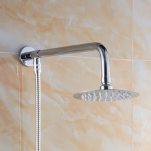 "Free Shipping Wall Mounted Brass Shower Arm 4"" Rainfall Shower Head Ultrathin Style Showerhead with 150cm Shower Hose"