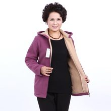 Winter Middle Aged Womens Hooded Imitation Lambs Fleece Jackets Ladies Warm Soft Velevt Coats Mother Overcoats Plus Size CE278(China)
