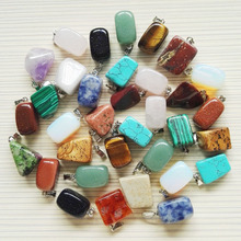 Wholesale 36pcs/lot Good quality mixed Natural stone Irregular shape Opal pendants charms tiger eye stone pendants for jewelry(China)