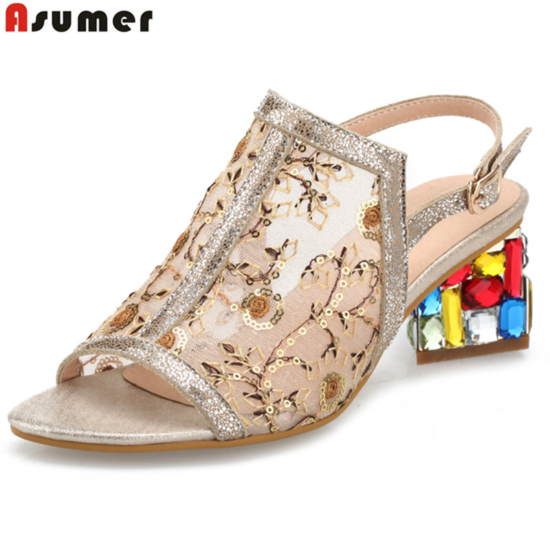 2017 new genuine leather women sandals square rhinestone heels summer party wedding shoes woman lady shoes<br>