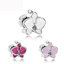 free shipping 1pc 2017 new white pink rose red Orchid big hole bead charms Fits European pandora Charm Bracelets A560
