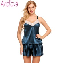 Avidlove 2017 New Design Pajamas Sets Nightgown Women Sexy Sleepwear Set Lace Silk Cami Set Indoor Clothing Pyjama Femme XXL(China)