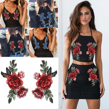 Buy 2PC Flower Patches Big Stickers Embroidery 3D Red Rose DIY Embroidered Roses Floral Collar Sew Patch Sticker Applique Badge for $1.11 in AliExpress store