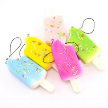 Hot Sale Squishy Bread Chocolate Sprinkles Popsicle Phone Straps Soft Scented Charms 4cm x 10cm 1PCS(China)