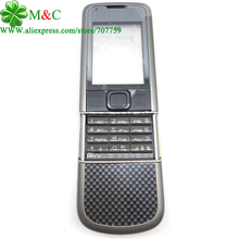 New 8800 Carbon Arte Metal Housing Cover Case For Nokia 8800 Arte Carbon Housing With Keypad Repair Part Free Tracking