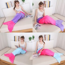 YOYIHOME Mermaid blanket For Bed tail throw plush plaid On sofa Bed fluffy bedspreads knitted children and adult blanket(China)