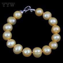 YYW Freshwater Cultured Pearl Bracelet Freshwater Pearl brass clasp Potato yellow 11-12mm Sold Per Approx 7.5 Inch Strand