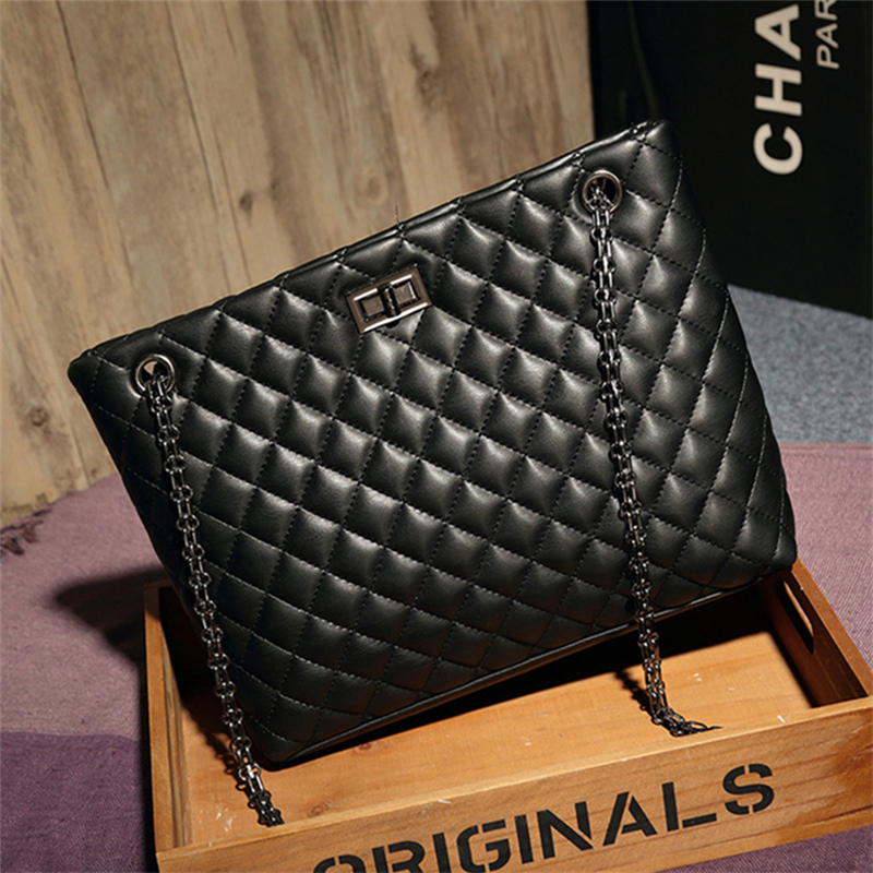 High Quality Luxury Brand Women Plaid Bags Large Tote Bag Female Handbags Black Leather Big Crossbody Chain Messenger Bag Girl<br>