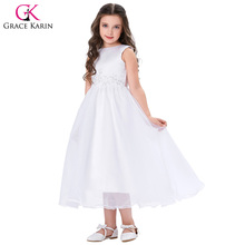 Grace Karin Flower Girl Dresses For Weddings 2017 Lace Applique First Girls Communion Dress Kids Dream Gowns White Pageant Dress