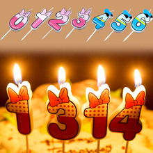 Popular 1PC 0-9 Numbers Blue Pink Bowknot Happy Birthday Candles Funny Cake Supplies Kids Age Glims Anniversary Party Decoration