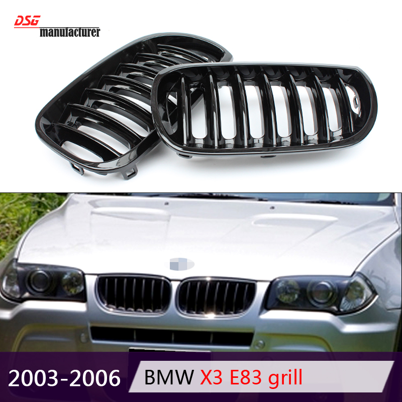 1-slat front kidney abs hood grill grille for bmw 2003 - 2006 x series x3 e83 pre-facelift pre-lci bumper car styling<br><br>Aliexpress