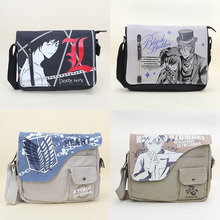 30pcs/lot Anime Death note canvas shoulder bag Naruto Black Butler Attack On Titan Messenger Bag students bag plush bag toy(China)