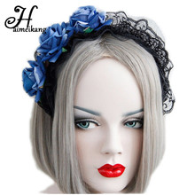 haimeikang Halloween Crazy Night Party Hair Accessories Black Lace Headbands Temptation Three Red Roses Hair Bands New(China)