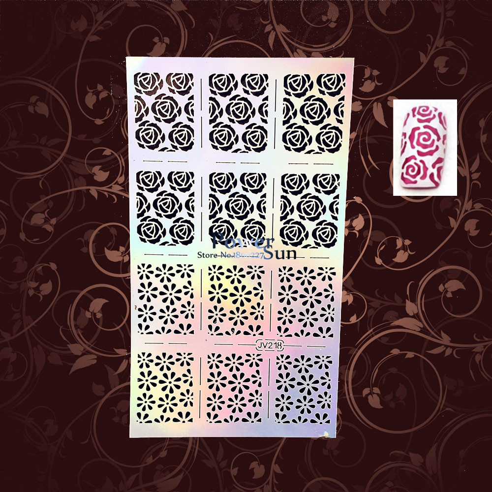 Sexy Roses Nail Art Stencil Stamping Template Nail Foil Vinyls Health Reusable Nail Stickers PJV218 Christmas Pattern Nail Decal<br><br>Aliexpress