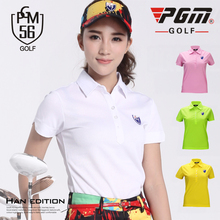 PGM Brand New Top Shirt Summer Short Sleeves Polo T-shirt Six Color Sportswear Golf Tennise Female Dry Fit Trainning Shirts 2018(China)
