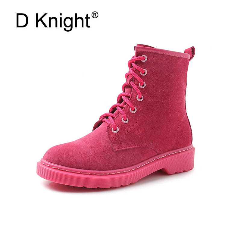 New Women Casual Flat Ankle Boots Fashion Cow Leather Lace Up Boots For Women Plus Size 34-43 England Style Motorcycle Boots<br>