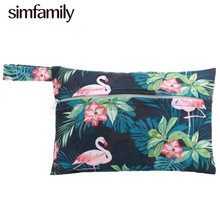 [simfamily]1Pc Mini Small Wet Bags Reusable Waterproof wet Bag Pouch For Nursing Pads Stroller Mini diaper bags size:18X14cm
