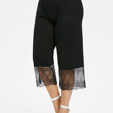 Gamiss Plus Size Hoge Waisted Lace Panel Leggings Vrouwen Zomer Losse Elastische Taille Wijde Pijpen Broek Capri Leggings Vrouwen Broek(China)
