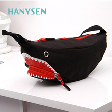 2017 Cool Shark Shaped Nylon Waist Pack Unisex Waist Pouch Hip Money Belt Travelling Fanny Bag Bum Chest Bag Bolsa Feminina New(China)