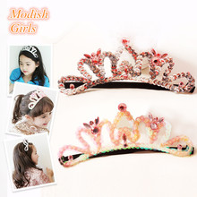 New Korean 10pcs/lot Tiara Crown Design Pinky Orange Headbands Handmade Silver Princess Hairbands Sequins Performance Hairbands