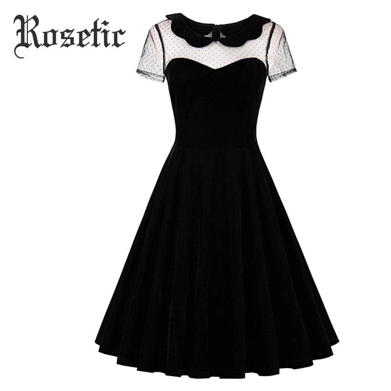 Täpilise pitsiga must kleit