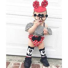2017 Ins new Baby Girls Clothing Sets Stripe Off Shoulder T shirt+Dots Shorts Two Piece suit for summer childrens clothes 17028