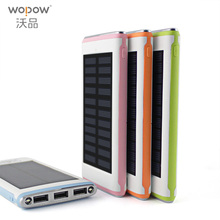 WOPOW  Waterproof Solar Power Bank Real 5000mah Backup Bateria Externa Portable Solar Charger Powerbank for mobile phone