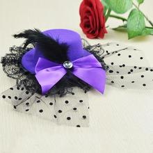 Hairpins Ladys Mini Top Hat Cap Lace fascinator Hair Clip Costume Accessory beautiful hair accessories E5147a